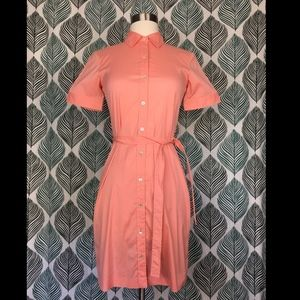 Theory Women's Coral Button Down Shirt Dress Coral